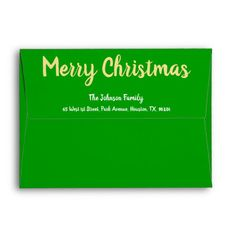 This holidays use custom, personalized, beautiful, stylish, family name return address, wedding invitation / greeting card / holiday mailing envelope. To customize, you simply type in your name / family name / company name, and address. Add the perfect finishing touch to any mail. Perfect for both, home and business, personal and official use. Your business and personal mailings will stand out with this custom envelope #christmas #envelopes #stationery Personalised Gifts For Friends, Personalized Photo Gifts, Customized Gifts, Christmas Wedding Invitations, Green Wedding Invitations, Mailing Envelopes, Addressing Envelopes, Merry Christmas Family, Xmas