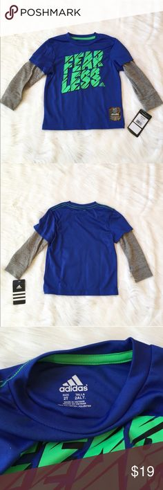 """Boys Adidas Tee This is a NWT Boys Adidas """"twofer"""" Tee. Shirt is blue with a bright green front graphic print. Material is 100% polyester. Perfect for any busy little toddler. ⚜Please see my """"reasonable offers"""" listing at the top of my page before submitting an offer⚜Thank you😊 Adidas Shirts & Tops Tees - Long Sleeve"""