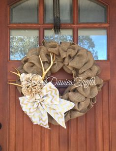 A personal favorite from my Etsy shop https://www.etsy.com/listing/491440111/rustic-wreath-burlap-wreath-chevron