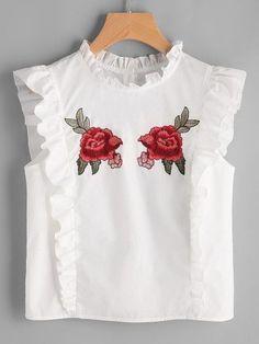 Blusa con parche de rosa con detalle de volantes y espalda con botones -Spanish SheIn(Sheinside) Sitio Móvil