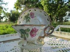 Vintage Teacup Tea Cup and Saucer footed by Holliezhobbiez on Etsy, $ ...