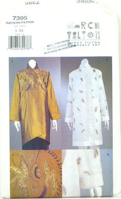 Vogue 7395 Marcy Tilton Design Miss Jacket Size L - XL FREE SHIPPING  Bust: 38 to 44 Waist: 30 to 37 Hip: 40 to 46  Envelope is in good condition, with a stamp of store on front and some crinkling on tab. All instructions and uncut tissue, still factory folded, are included.  Please review the information carefully, as patterns cannot be returned.