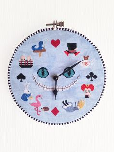 Alice in Wonderland Clock Cross Stitch by OtterlyInXStitches
