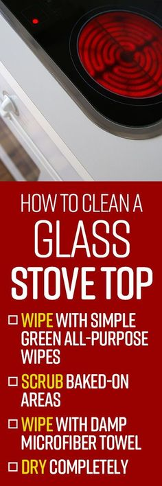 Your glass top stove is easy to clean, without the hassle of drip pans or burner grates. But splatters, spills and overflows can bake on quickly, requiring frequent cleaning. Cleaning Hacks, Cleaning Wipes, Drip Pans, Spring Cleaning List, Kitchen Gadgets, Home Remedies, Stove, Glass, Tips