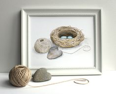 'This is where my heart lives' Bird Nest Watercolor Painting by Kathleen Maunder