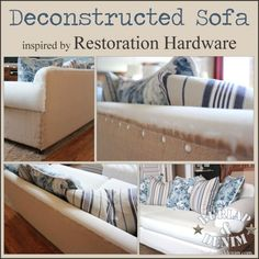 """INTERESTING IDEA Use cheap """"upholstery tacks"""" to cover a piece of upholstered furniture with new fabric without the long process of slipcovering or real reupholstery! Sofa Makeover, Furniture Makeover, Diy Furniture Couch, Upholstered Furniture, Diy Couch, Furniture Ideas, Do It Yourself Inspiration, Soft Furnishings, Restoration Hardware"""