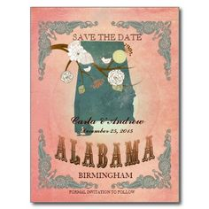 Pastel Orange Save The Date -Map With Lovely Birds Post Cards