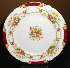 Shelley Maroon Dubarry 8 plate by shelleychinaca on Etsy