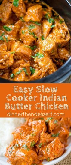 Slow Cooker Indian Butter Chicken made with spices you alrea.- Slow Cooker Indian Butter Chicken made with spices you already have in your cabinet with all the creamy deep flavors you& expect from your favorite restaurant. Chicken Tikka Masala Rezept, Butter Chicken Rezept, Butter Chicken Recipe Crockpot, Butter Chicken Spices, Butter Chicken Slow Cooker, Butter Recipe, Buttered Chicken Recipe, Slow Cooker Chicken Thighs, Slow Cooked Chicken