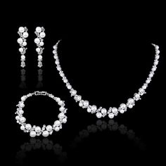 Elegant Pearl Crystal Wedding Party Prom Necklace Earrings Bracelet Set