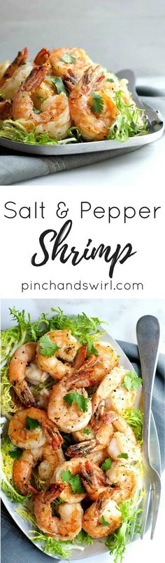 Salt and Pepper Shrimp are easy enough for a weeknight meal and fancy enough for a dinner party! The shrimp are tender and flavorful inside with a crisp salt and pepper crust. #saltandpepper #shrimp #partyfood