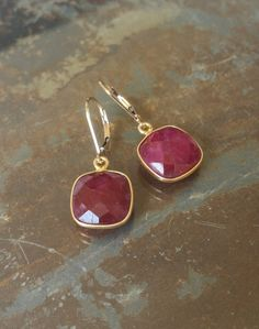 Ruby Earrings, Ruby Dangles, Gold Ruby Earrings, Gold Ruby Dangles, Gold Ruby Dangle Earrings - pinned by pin4etsy.com