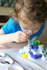 Painted Salt Sculptures - a NEW recipe and activity from Fun at Home with Kids - fun for all ages from toddler on up!