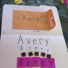 Learning letters in name: file folder with envelope full of different types of letters!