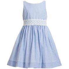Pretty girls pale blue striped sleeveless dress by <span>Ralph Lauren made from a lightweight seersucker cotton. In a classic style with full pleated skirt, it is fully lined, has an attached lace belt and fastens at the back with covered buttons.<br /></span> <ul> <li>100% cotton <span>(soft, lightweight seersucker)<br /></span></li> <li>Fully lined</li> <li>Machine wash (30*C)</li> </ul>