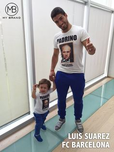 SPOTTED! We received this amazing picture from Luis Suarez!!  Luis & his son Benjamin both spotted in MY BRAND jogging pants & Padrino Tee!