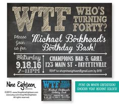 Birthday Party Invitation WTF Whos Turning By NineEighteen