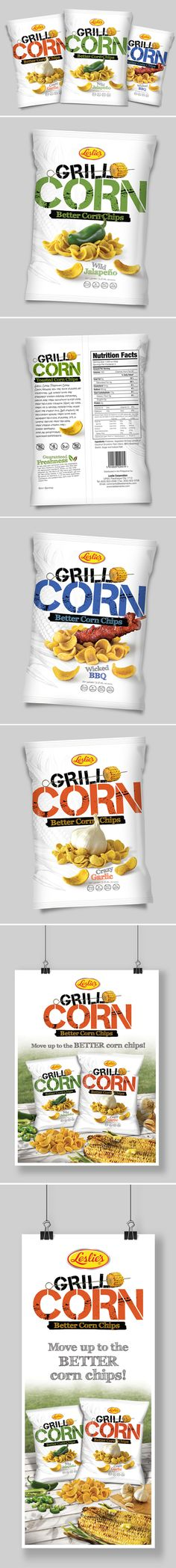 Kreativebones Design 2013 © +Corn Chips Packaging Design in 3 variants +Chips Photography +Poster, Banner and Shelf Talker design Client: Leslie's Snack Corp. Available in US and Asia