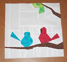 Bird block created for Kendra (Mccuisti) in the Bee Scrappy quilting bee group.