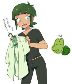 Sawyer Pokemon, Pokemon Sun, Free Anime, Green Hair, Blue Eyes, Creatures, Gallery, Pants, Shirts