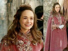 Fashion of Reign: Princess Claude wears a vintage velvet cape. Her dusty pink cape was beautifully embellished by Reign Costume Department