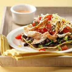 Chili-Lime Chicken Tostada with Pico de Gallo and Chipotle Crema Recipe - EatingWell Mexican Food Recipes, Dinner Recipes, Ethnic Recipes, Mexican Dishes, Diabetic Recipes, Spanish Recipes, Diabetic Foods, Mexican Cooking, Entree Recipes