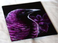 Violet-Backed Starling Painting - Starling Bird Art with Douglas Iris Flowers Artwork Splatter Painting by Danielle Trudeau 6x8 $50.00 USD
