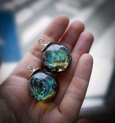 Lampwork and sterling galaxy pendants by Irina Sergeeva