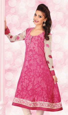 Pink Brasso and Chiffon Kurti An exceptional pink brasso and chiffon kurti will make you look quite stylish and graceful. This beautiful dress is showing some terrific embroidery done with multi and resham work.  #DesignerTunicsTops #LadiesPartyWearTunic