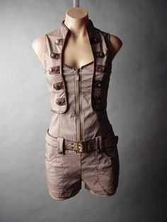Steampunk Military Tomb Raider Mechanic Engineer Top Belted Short Suit
