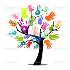 Vector Illustration of an Abstract Tree with Colorful Hand Prints