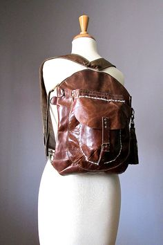 Leather Backpack Cross body bag Brown leather by VitalTemptation