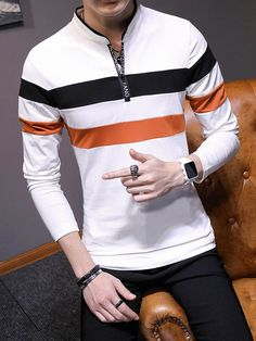 Swag Outfits Men, Fashion Outfits, Sweater Fashion, Men Sweater, Boys Clothes Style, Mens Designer Shirts, Camisa Polo, Boys T Shirts, Mens Clothing Styles