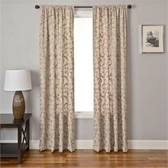 Macire Linen blend curtains with embroidered leaf/scroll pattern in Natural color