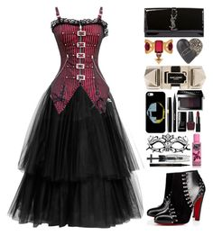 """""""Punk Princess."""" by ndvalenciano ❤ liked on Polyvore featuring Martin Grant, Christian Louboutin, Yves Saint Laurent, Alexander McQueen, Alexis Bittar, Casetify, Stila, Bobbi Brown Cosmetics, le top and OPI"""