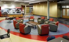 Bostik Inc. (Wauwatosa, WI) Reno lounge seating in collaborative/open space area. Vinyl Tile Flooring, Commercial Flooring, Lounge Seating, Office Furniture, Awards, Table, Projects, Design Ideas, Space