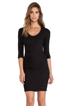 NWT James Perse Black Sueded Stretch Jersey Skinny Tucked Dress 2 M $225 #JamesPerse #Sheath #Casual