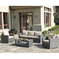Found+it+at+AllModern+-+Patio+Wicker+4+Piece+Seating+Group+with+Cushions