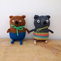 Hand knitted Bear pocket softie mini plush door JessQuinnSmallArt,
