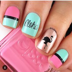 Fun Hawaiian mani by glittr(IG)! Using our Flamingo Nail Stencil Found at: snainvinyls.com