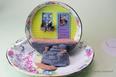 Make a Quarter Scale Front Porch Scene in a Tea Cup Using Free Printables: Finish the Front Porch and Steps