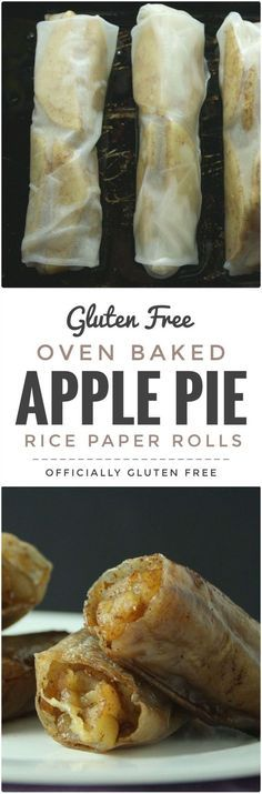 Apple Pie Rice Paper Rolls This Easy to make and so delicious Baked Apple Pie Rice Paper Rolls recipe makes a perfect dessert. Theyre Easy to make and so delicious Baked Apple Pie Rice Paper Rolls recipe makes a perfect dessert. Gluten Free Sweets, Gluten Free Cooking, Gf Recipes, Dairy Free Recipes, Recipies, Celiac Recipes, Keto Apple Recipes, Gluten Free Apple Pie, Delicious Recipes