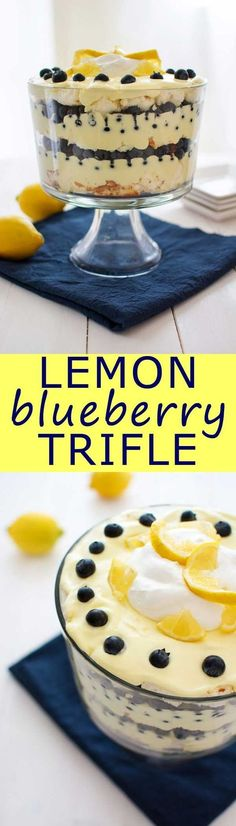 Lemon Blueberry Trifle: lemon pudding, cool whip and juicy blueberries. Can be made with angel food cake or pound cake!