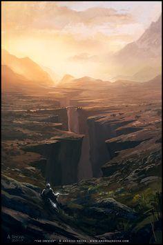 Andreas Rocha - The Crevice. Concept Art. Digital Illustration. Science Fiction and Fantasy Artwork
