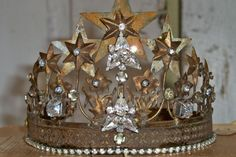 French crown vintage Santos inspired tiara rhinestones rusty aged brass home decor Anita Spero. 72.00, via Etsy.