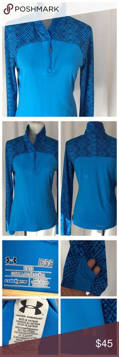"""UA Fitted Quarter Zip Fitted Quarter Zip in Cold Gear construction, long sleeve with thumbholes. Size L, 18"""" chest, 25"""" length. Excellent- like new condition Under Armour Tops"""