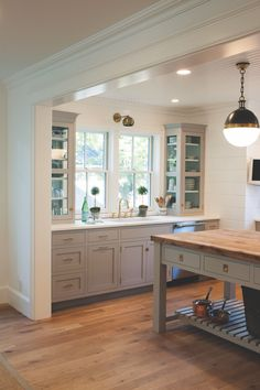 Custom cabinets, custom cabinetry, custom kitchens made for your home by Crown Point Cabinetry Blue Gray Kitchen Cabinets, Grey Painted Kitchen, Modern Grey Kitchen, Light Gray Cabinets, Grey Kitchen Island, Grey Kitchen Designs, Farmhouse Kitchen Island, Painting Kitchen Cabinets, Kitchen Paint