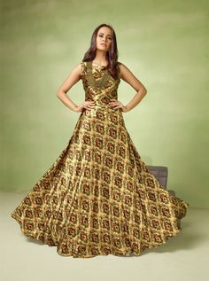 Be the sunshine of anyone's eyes dressed in such a floral multi colour satin readymade gown . Beautified with embroidered and resham work all synchronized effectively with all the trend and style an. Designer Gowns, Designer Wear, Designer Kurtis, Wedding Gowns Online, Bollywood Dress, Printed Gowns, Party Wear Lehenga, Floor Length Gown, Casual Dresses