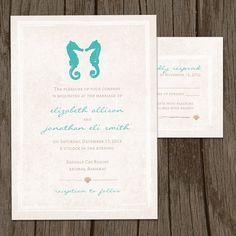 Kissing Seahorses Nautical Beach Wedding Invitation & RSVP Set CUSTOMIZABLE - Set of 100. $345.00, via Etsy.