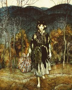 Illustration for 'Catskin' by Flora Annie Steel, from a collection of English Fairy Tales, 1918 (artwork by Arthur Rackham) [published in New York by Macmillan Company] Arthur Rackham, Art And Illustration, Book Illustrations, Art Magique, Harry Clarke, Kay Nielsen, Fairytale Art, Illustrators, Fantasy Art